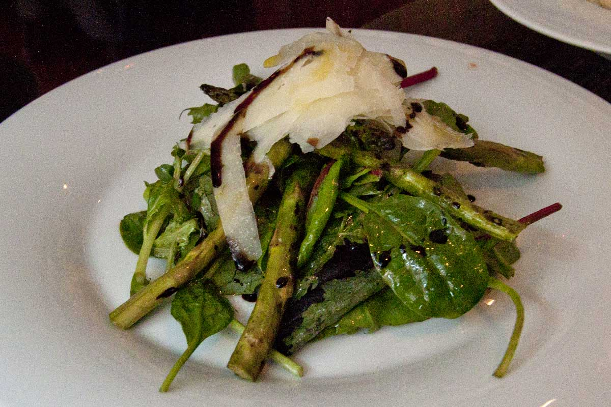 Char grilled asparagus with pecorino