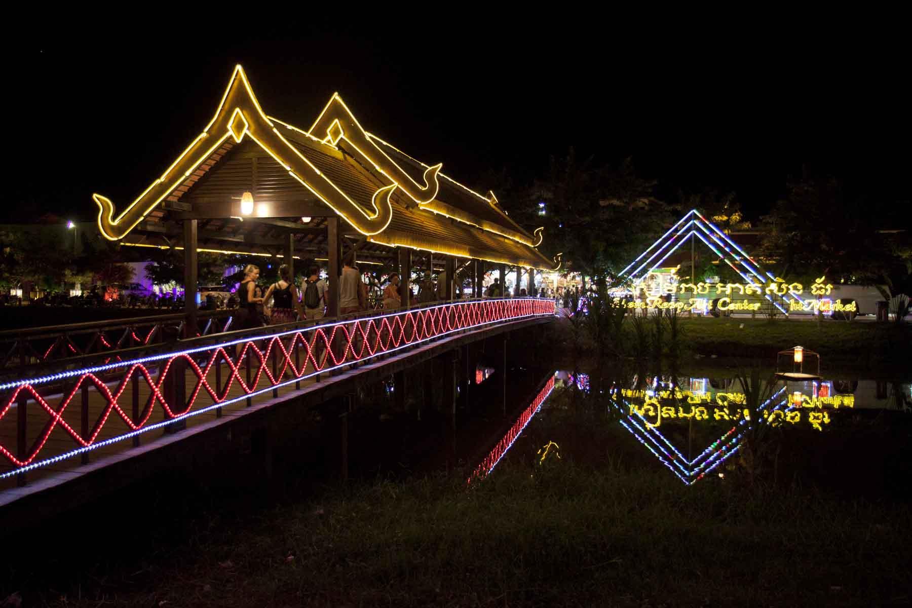 Bridge approaching the markets at Siem Reap