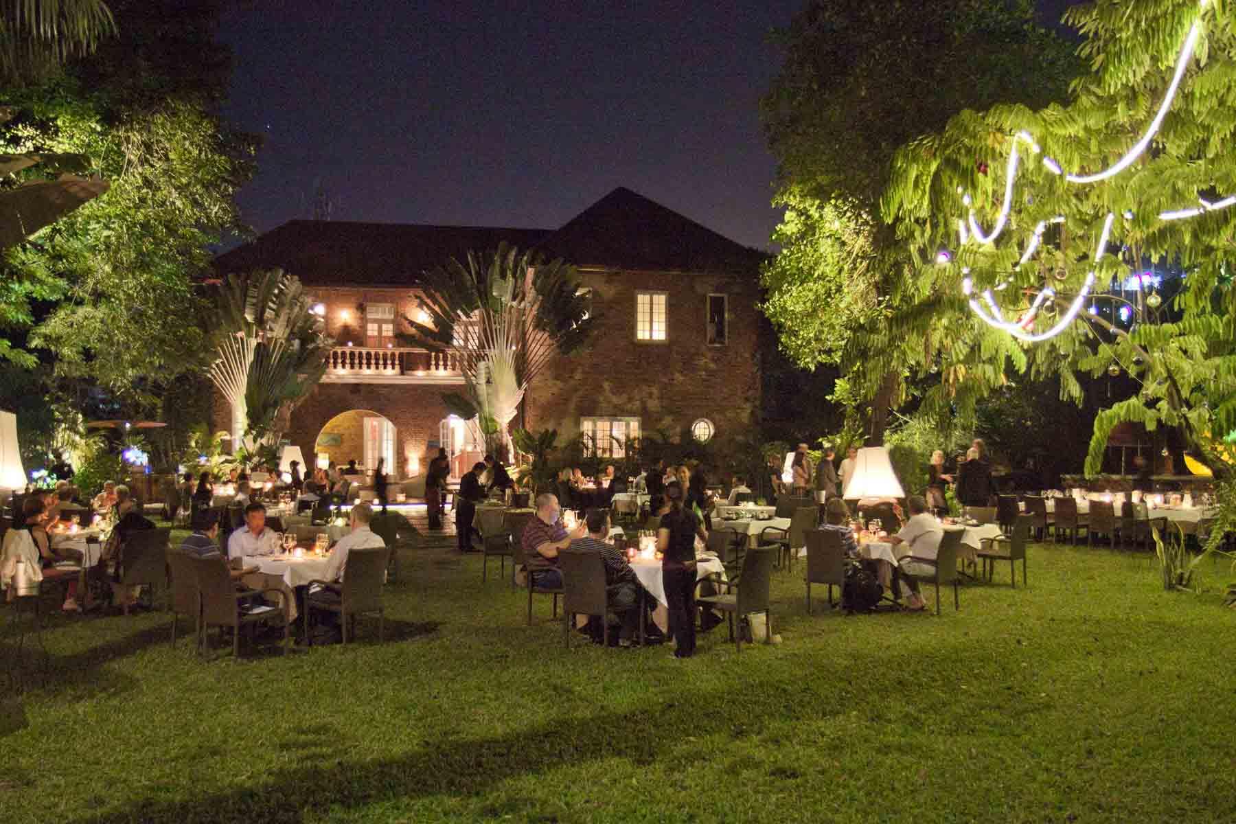 Garden dining at Le Planteur Restaurant, Yangon