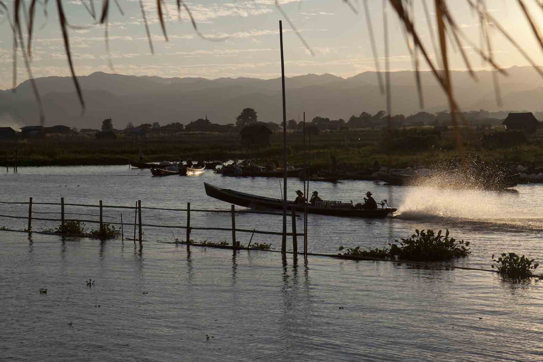 Early morning commute on Lake Inle
