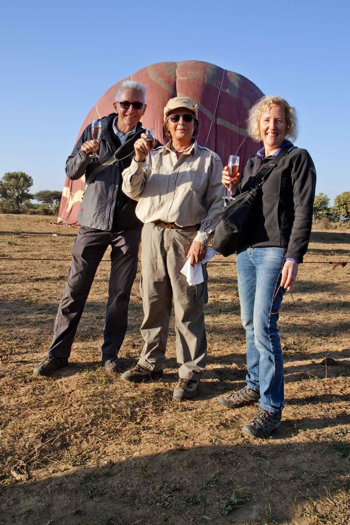 John, Pilot Sue, Nic and champagne - a safe landing always deserves a celebration!