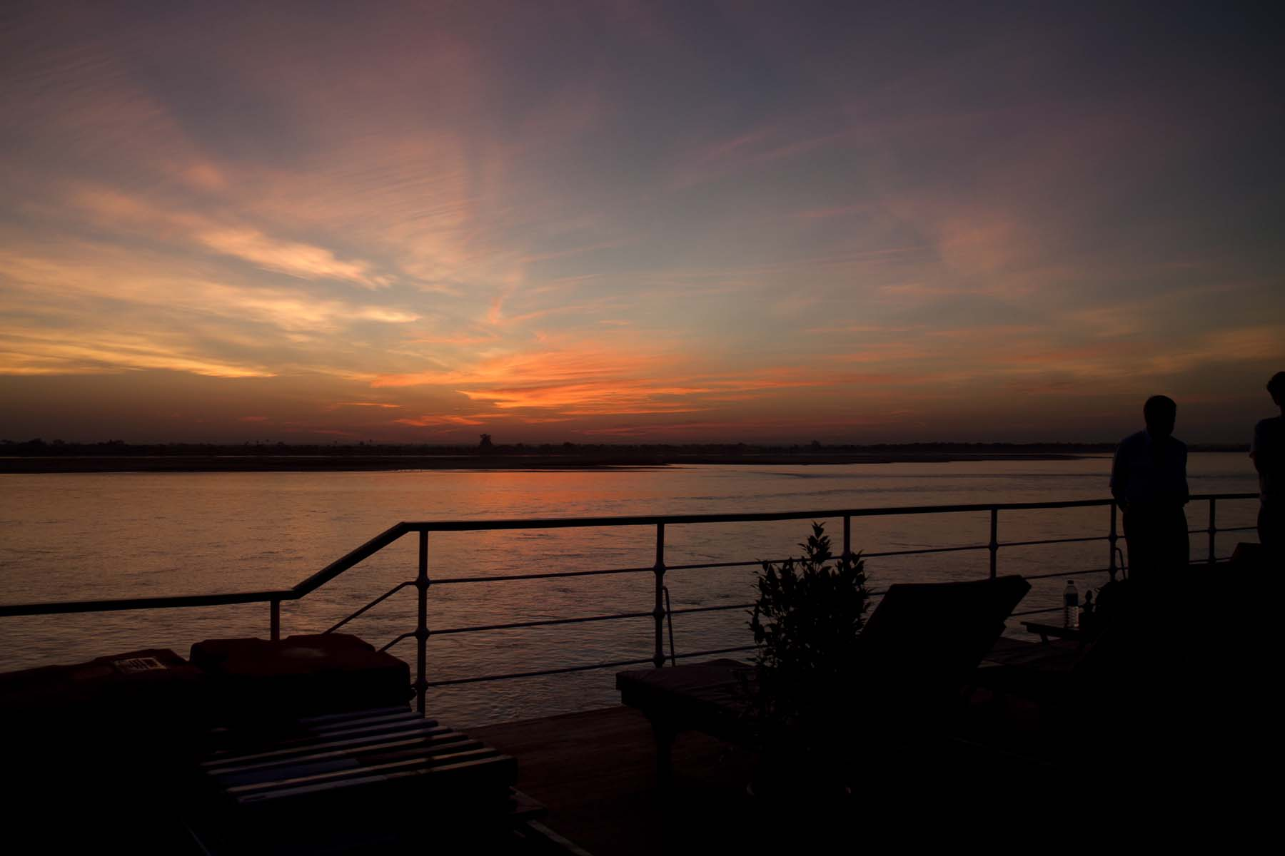 Sun setting on the Irrawaddy River