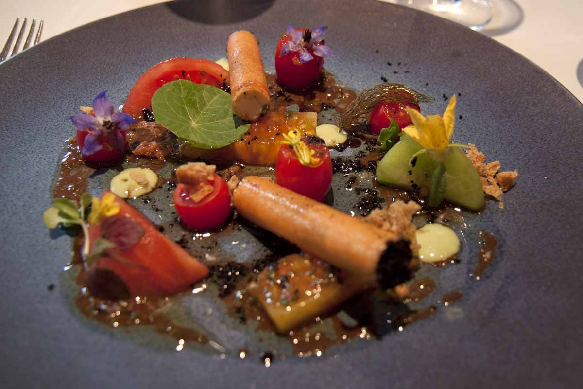 Heritage tomatoes and goat cheese at the Ledbury