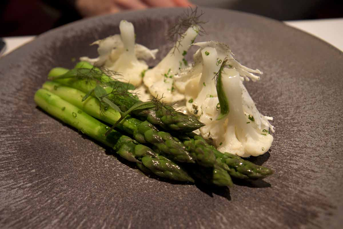 The VERY popular steamed asparagus with cauliflower and seaweed butter at the Ledbury