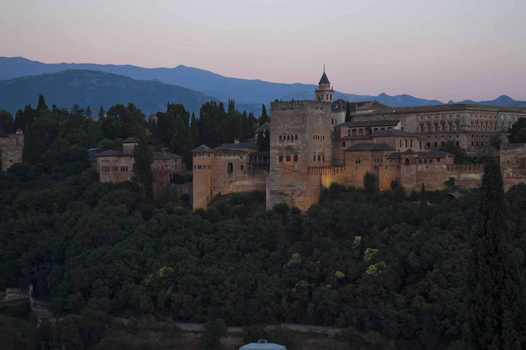 The Alhambra, after dusk, Granada