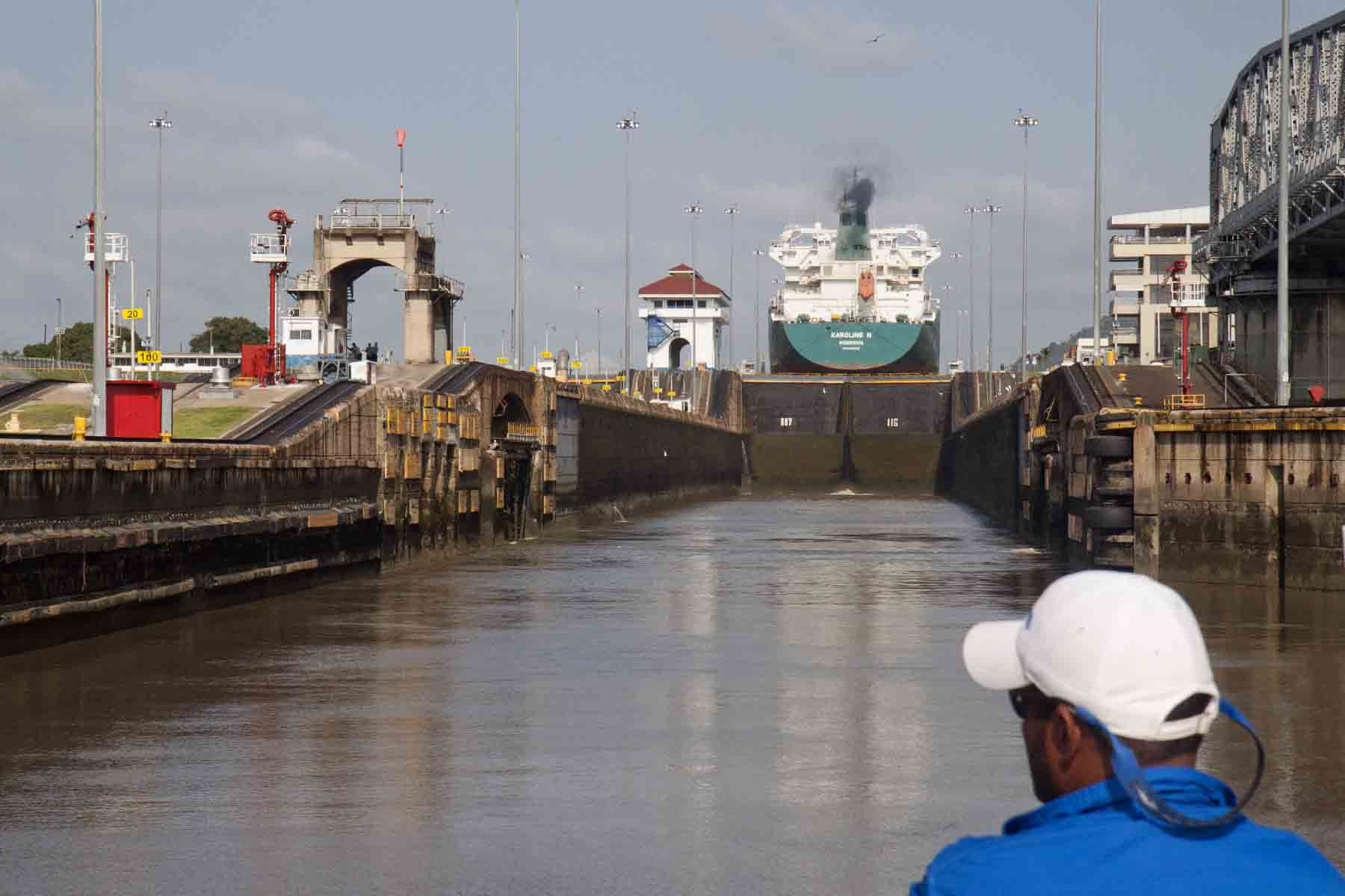 Entering the first of Miraflores Locks, Panama Canal