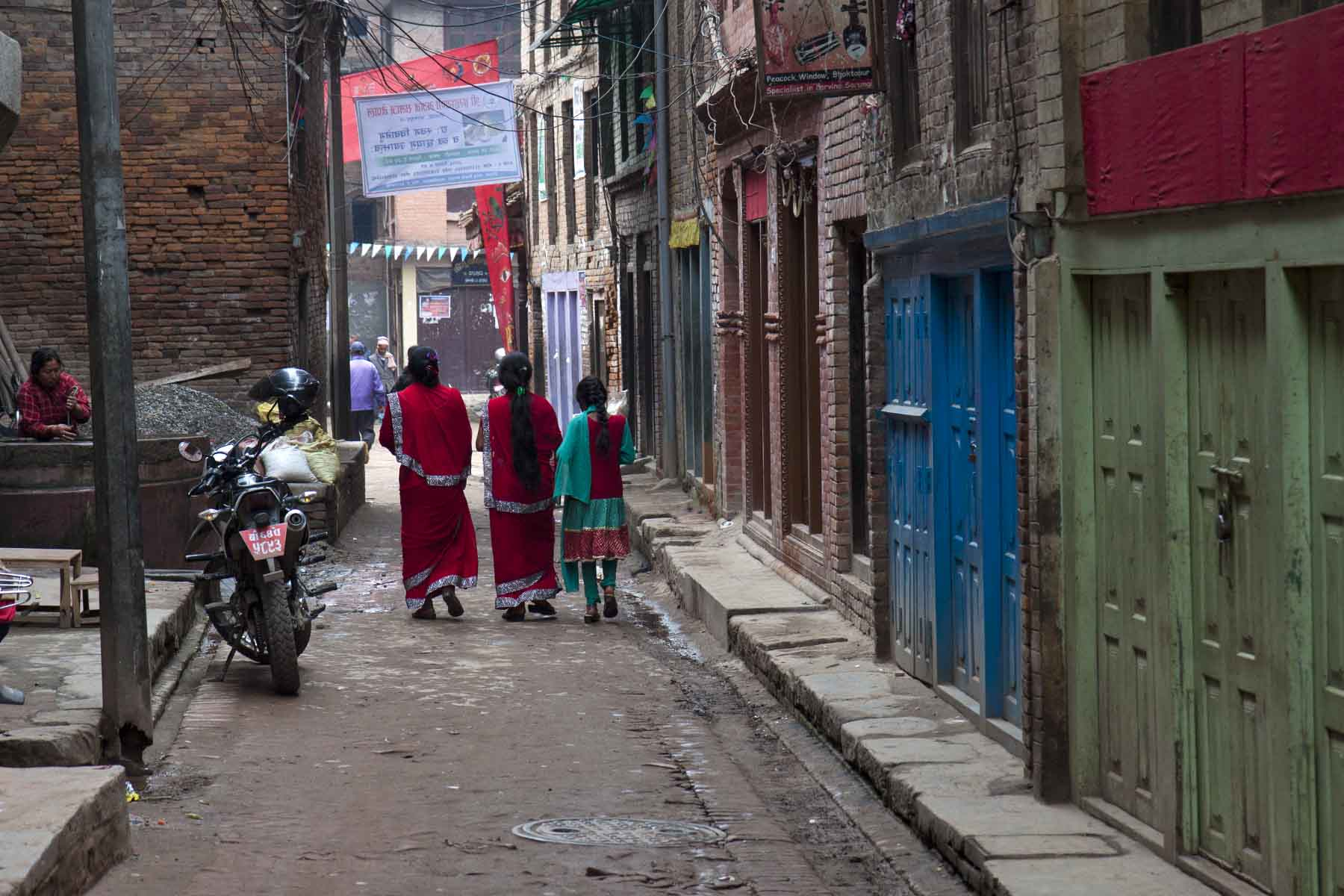 Morning street, New Year's Day, Bhaktapur, Nepal