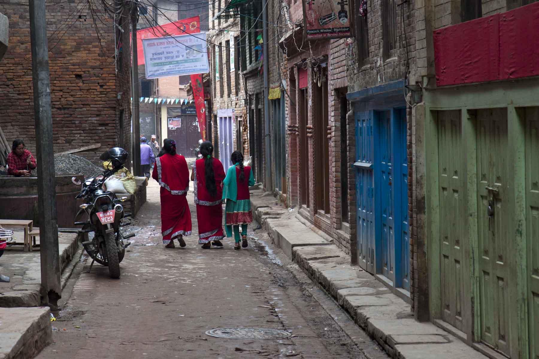 Morning street, New Year's Day, Bhaktapur, Nepal