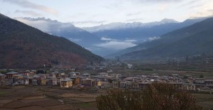 Early morning Paro view from Gangtey Palace, Bhutan