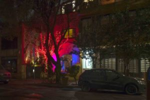 The Red Tree House, night, Mexico City